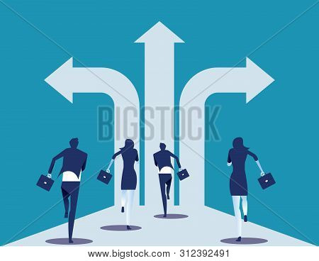 Choice Way. Business Team With Crossroads And Decision To Success. Concept Business Decision Vector