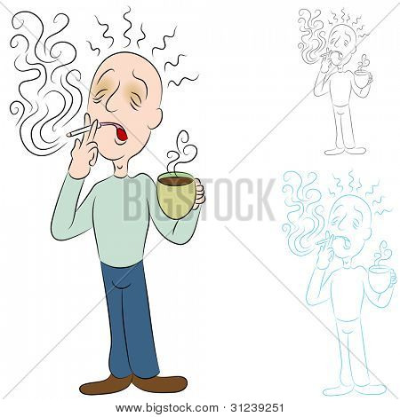 An image of a man sick from coffee and cigarettes.