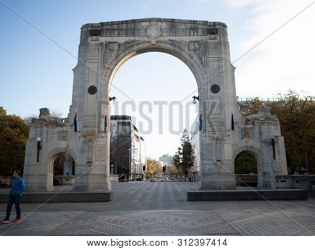 Christchurch, New Zealand - May 2019: Ww1 Memorial Arch At The Bridge Of Remembrance, Christchurch,