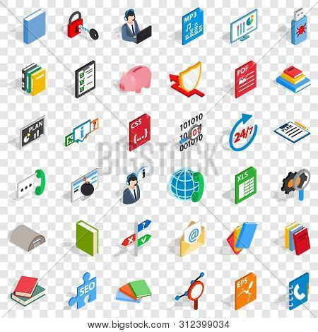 Elearning Icons Set. Isometric Style Of 36 Elearning Icons For Web For Any Design