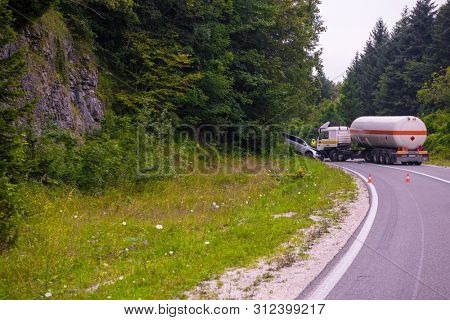 Traffic accident  Truck and Car crash accident on the beautiful nature road