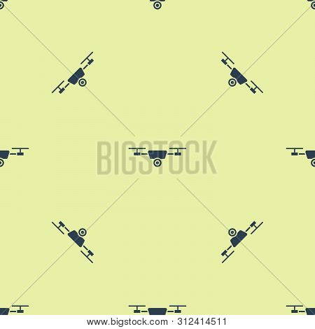 Blue Drone Flying With Action Video Camera Icon Isolated Seamless Pattern On White Background. Quadr