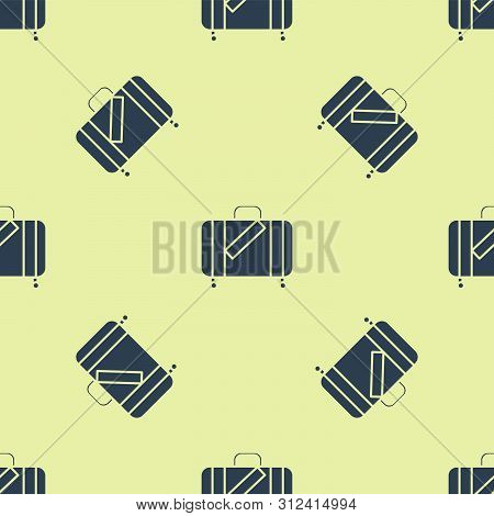 Blue Suitcase For Travel And Stickers Icon Isolated Seamless Pattern On White Background. Traveling