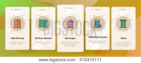 Dwelling House, Condo Onboarding Mobile App Page Screen . Condo, Apartment Buildings. Residential Area, Metropolis Pictograms Collection. Urban Architecture Illustrations poster