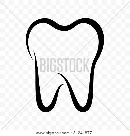 Tooth Vector Icon. Dentistry Clinic, Toothpaste And Dental Mouthwash Package Label, Healthy Tooth Lo