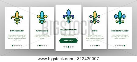 Fleur De Lys, Royalty Linear Onboarding Mobile App Page Screen. Fleur, French Lily Thin Line Contour Symbols Pack. Ornate Exterior. Traditional Floral Insignia Illustrations poster