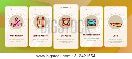 Rafting Trip, Sport Linear Onboarding Mobile App Page Screen. Rafting, Kayaking Thin Line. Outdoor Activity, Adrenaline Chase Pictograms Collection. Extreme Summer Recreation Illustrations poster