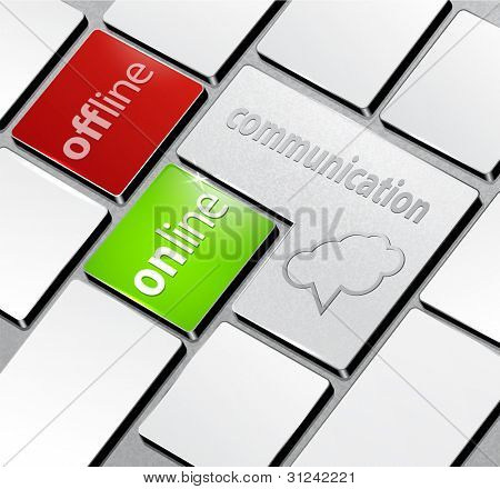 background with a computer keyboard and the word communication,online,offline