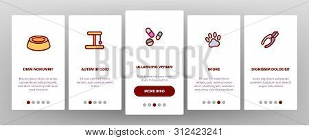 Pet Line Icon Set Onboarding Mobile App Page Screen. Animal Care. Grooming Pet Symbol. Dog, Cat Vete