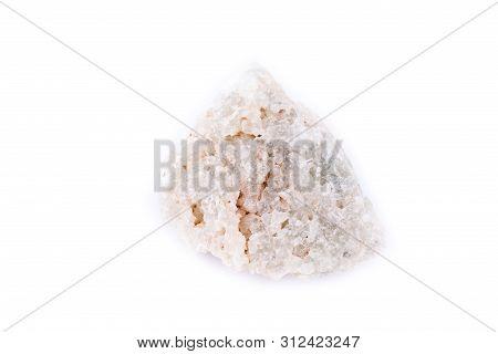 Macro Mineral Prehnite Stone On A White Background
