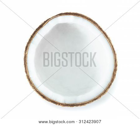 Coconut Isolated On White Background, Top View