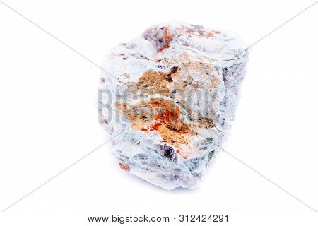 Macro Mineral Stone Copper On White Background