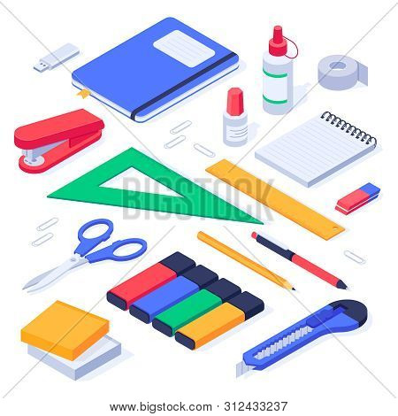 Isometric Office Supplies. School Stationery Tools, Pencil Eraser And Pens. Stationery Stapler, Note