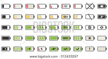 Battery Charge Icons. Powered Indicator, Charging Empty Batteries And Low Battery Power Icon. Smartp