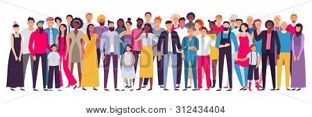 Multiethnic Group Of People. Society, Multicultural Community Portrait And Citizens. Young, Adult An