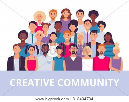 People Group. Multiethnic Community Portrait, Diverse Adult People And Office Workers Team. Business