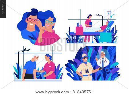 Set Of Medical Insurance Illustrations -opticians Shop, Hospitalization, Rehabilitation Physiotherap