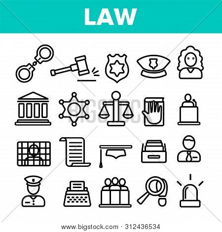 Law And Order Linear Icons Set. Law, Jurisprudence Thin Line Contour Symbols Pack. Judicial System P