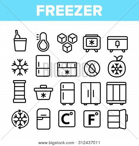 Freezer, Cooling Appliance Linear Icons Set. Frosting And Icing Thin Line Contour Symbols. Cold Stor