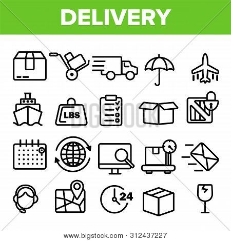Delivery Line Icon Set . Fast Transportation Service. Delivery 24 7 Logistic Support Icons. Express