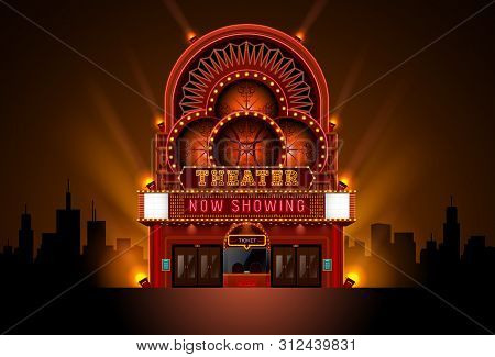 Theater Cinema Building Theater Cinema Building High Detail Vector Illustration Easy To Change Color