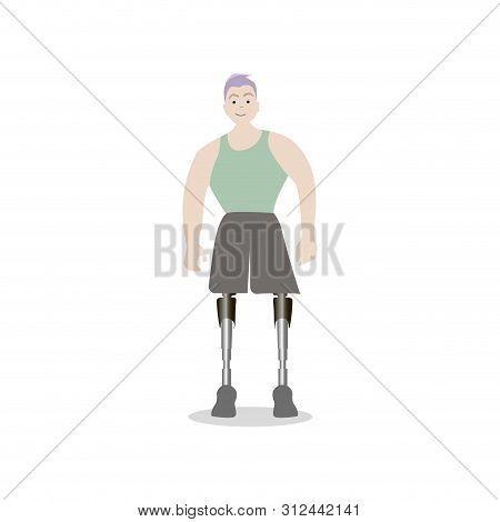 Young Guy With Prosthetic Both Legs, Man Prosthetic Foots, Sportsman With Amputation Vector, Disabil