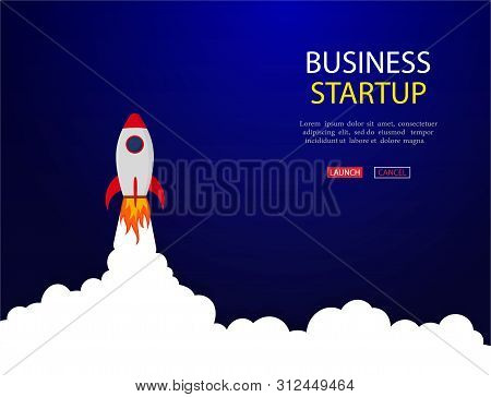 Business Concept Of Banner With Startup Rocket.launch Rocket Vector Background. Shuttle In Space. Ve