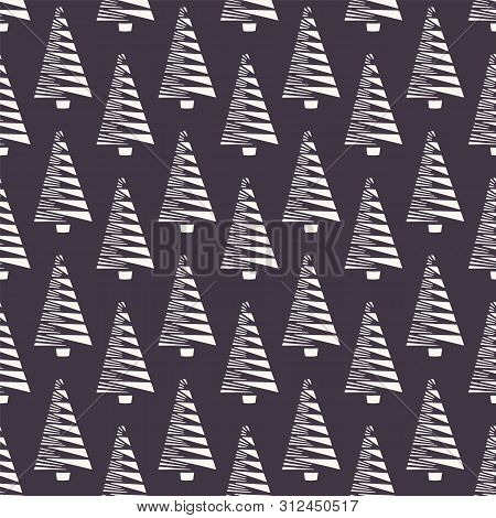 Hand Drawn Stylized Christmas Tree Pattern. Geometric Abstract Fir Forest On Brown Background. Cute