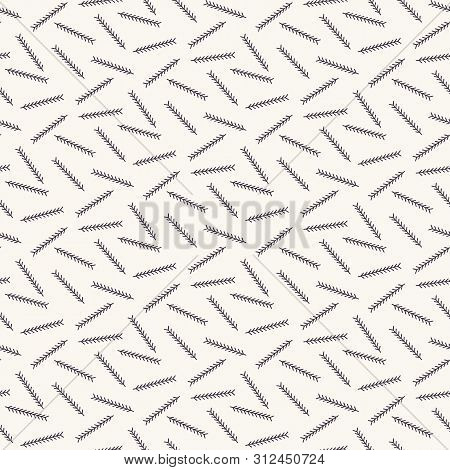 Hand Drawn Abstract Christmas Foliage Pattern. Tiny Tossed Fir Tree Branch. White Ecru Background. C