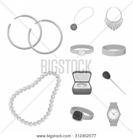 Isolated object of jewelery and necklace symbol. Collection of jewelery and pendent stock symbol for web. poster