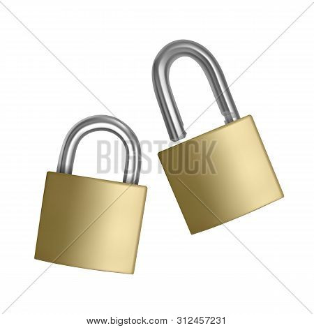 Two Realistic Icons Golden Padlock In The Open And Closed Position, Isolated On White Background, Ve