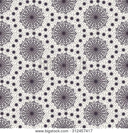 Hand Drawn Abstract Winter Snowflakes Pattern. Stylish Crystal Stars. White Ecru Background. Elegant