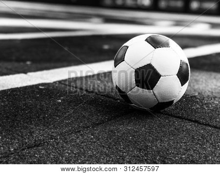 Soccer Ball On The Playground. Ball For Playing Street Football On A Street Soccer Field. Streetball
