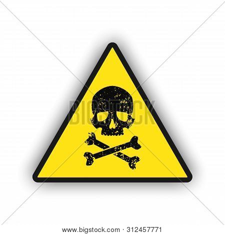 Toxic Warning Yellow Sign Icon Isolated On White Background. Hazard Or Warning Sign With Skull And B