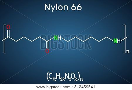 Nylon 66 Or Nylon Molecule. It Is Plastic Polymer. Structural Chemical Formula On The Dark Blue Back
