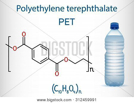 Polyethylene Terephthalate Or Pet, Pete Polyester, Thermoplastic Polymer Molecule With Plastic Bottl