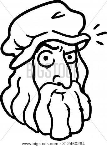 Da Vinci Cartoon Portrait. Funny Caricature Of The Greatest Inventor Of The Time - Leonardo Di Ser P