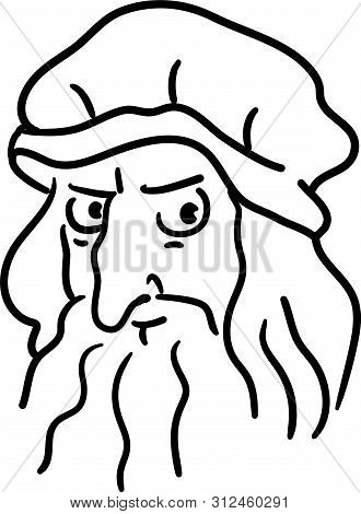 Leonardo Da Vinci Cartoon Hand Drawn Portrait. Funny Simple Line Art Caricature Of A Great Artist An