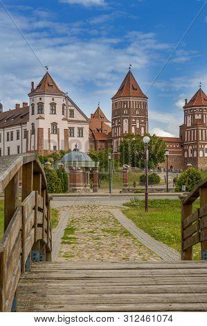 Mir, Belarus - July 13, 2019: Mir Castle Is A World Heritage Site From Unesco, East Europe. Mir Cast