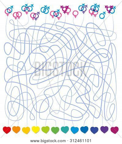 Queer Love Labyrinth With Lgbt Symbols And Hearts. Many Kinds Of Love Are Possible, Hetero, Gay, Les