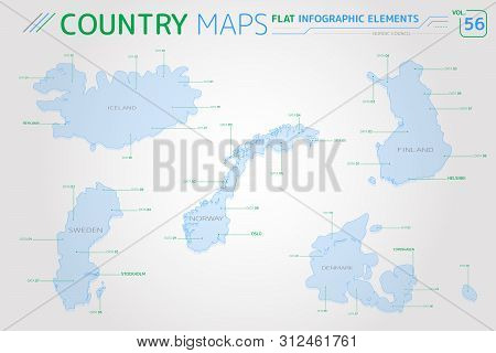 Nordic Council, Iceland, Norway, Denmark, Finland And Sweden Vector Maps