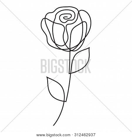 Rose One Liner. Abstract Flower One Line Art, Continuous Line Drawing. Minimalist Art Style. Vector.