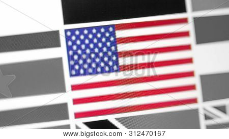 United States Of America National Flag Of Country. United States Of America Flag On The Display, A D