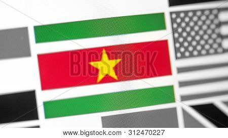 Suriname National Flag Of Country. Suriname Flag On The Display, A Digital Moire Effect. News Of Geo
