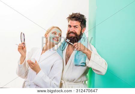 Bearded Man With Toothbrush. Cosmetic Facial Mask. Morning Treatments. Health. Morning Routine. Fami