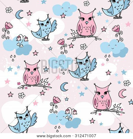 Cute Seamless Pattern With Cartoon Clouds Amd Owls.