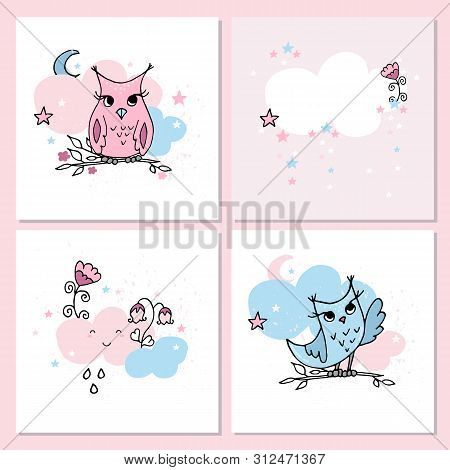 Cute Pastel Colors Cards With Owls And Clouds. Nursery Posters.