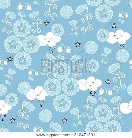 Cute Seamless Pattern With Flowers And Owls On Baby Blue Background.