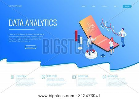 Landing Page With Isometric Business And Finance Analysts, Analyzing Key Performance Indicators, Bus
