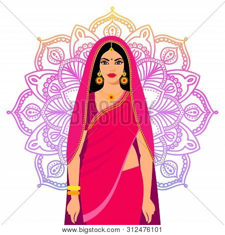 Beautiful Indian Brunette Young Woman In Sari. Beautiful Indian Brunette Young Woman In Colorful Sar